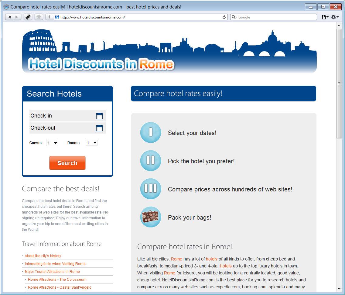 Hotel Discounts in Rome Website